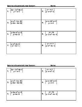 Solving A Linear Quadratic System