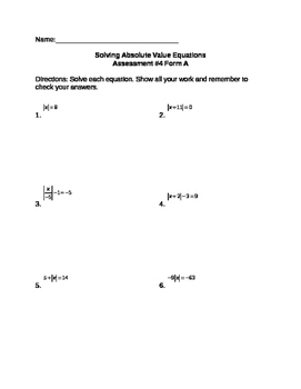 Solving Absolute Value Equations Assessment (3 Forms)