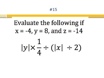 Task Cards: Absolute Value Equations
