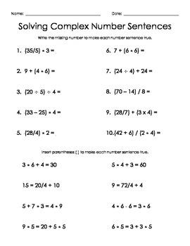 Solving Complex Number Sentences