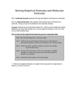 Solving Empirical Formulas and Molecular Formulas Practice