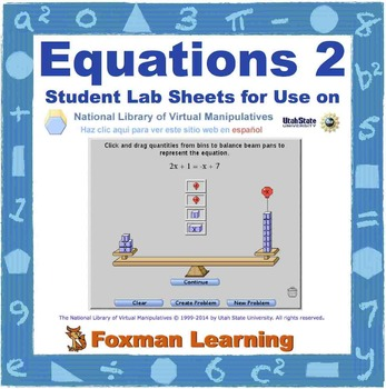 Solving Equations 2 -- Virtual Manipulatives Lab for Middl