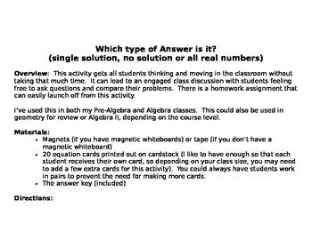 Solving Equations Activity - One Soltuion, No Solution, Al