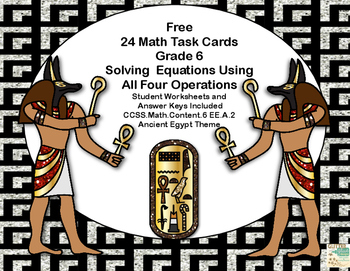 Solving Equations- All Four Operations- Grade 6- 24 Free T