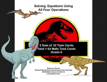 Solving  Equations- All Four Operations- Grade 6-64 Math D