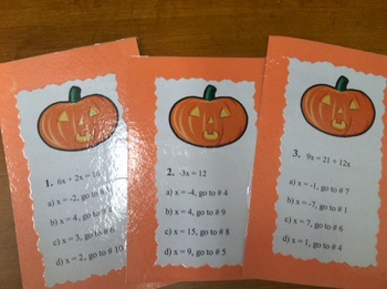 Solving Equations Differentiated Halloween Trail Activity