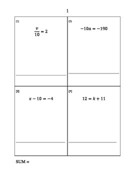 Solving Equations Game for Algebra 1 (Cooperative Learning