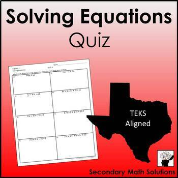Solving Equations QUIZ #1