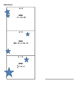 Solving Equations Review Activity - Star Chain
