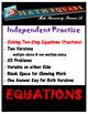 Solving Two Step Equations Independent Practice Fractions