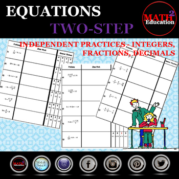 Solving Two Step Equations Independent Practice Bundle