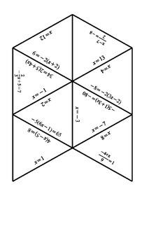 Solving Equations Tarsia Puzzle