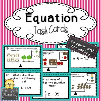 Solving Equations Task Cards (SOL 6.18)