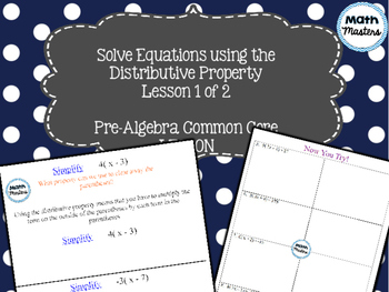 Solving Equations Using Distributive Property Lesson 1 of 2