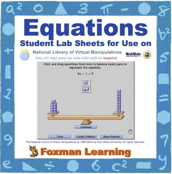 Solving Equations -- Virtual Manipulatives Lab for Middle