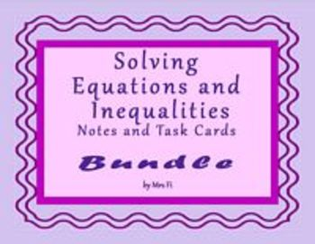 Algebra 1 Solving  Equations and Inequalities Bundled Note