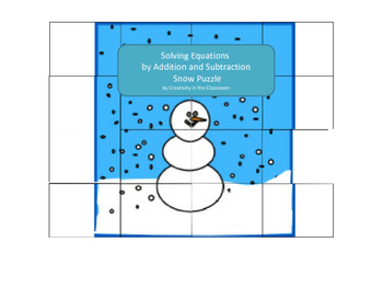 Solving Equations by Addition and Subtraction Snow Puzzle