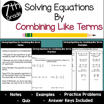 Solving Equations by Combining Like Terms Mini Unit