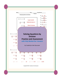 Solving Equations by Division Practice and Assessment