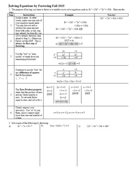 Solving Equations by Factoring Fall 2015