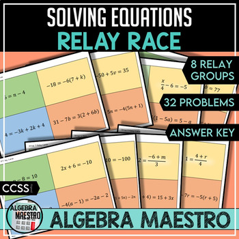 Solving Equations in One - Variable - Relay Race