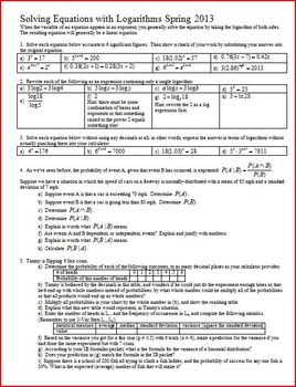Solving Equations with Logarithms Spring 2013 with answer key