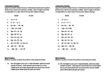 Algebra 09 - Solving Equations with Variables on Both Side