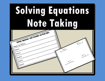 Solving Equations with Variables on Both Sides - Notes