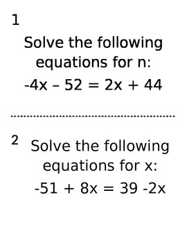 Solving Equations with variables on both sides hunt