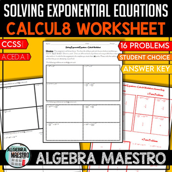 Solving Exponential Equation - Calcul8 Worksheet