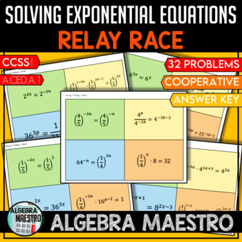 Solving Exponential Equations - Relay Race