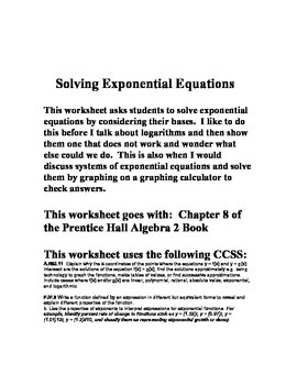 Solving Exponential Equations Worksheet - Chapter 8 Prenti