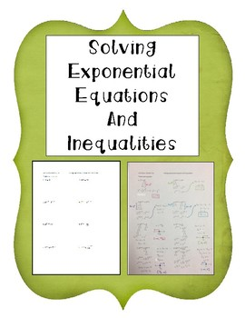 Solving Exponential Equations and Inequalities Notes