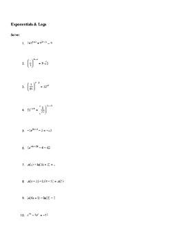 Solving Exponentials & Natural Log Equations Worksheet