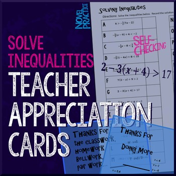 Solving Inequalities Teacher Appreciation Cards