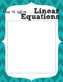 Solving Linear Equations Guide/Foldable