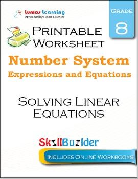 Solving Linear Equations Printable Worksheet, Grade 8