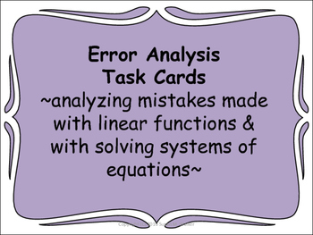 Solving Linear Equations & Systems & Finding Slope Error A