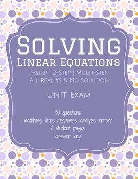 Solving Linear Equations - Unit Test (Exam)