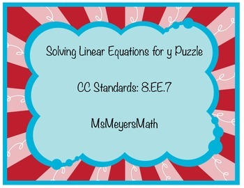 Solving Linear Equations for Y Puzzle