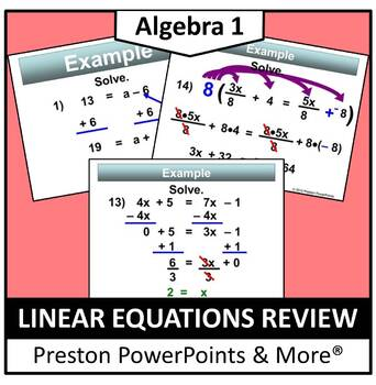 Linear Equations Review in a PowerPoint Presentation