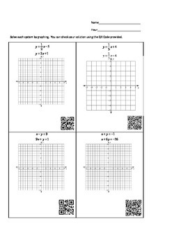 Solving Linear Systems by Graphing Task Card Set B with QR