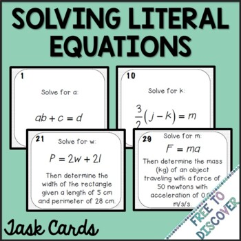Solving Literal Equations Task Cards