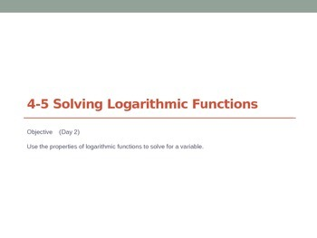 Solving Logarithmic Functions