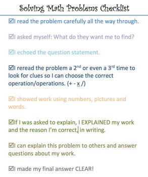 Solving Math Problems Checklist