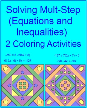 Solving Mult-Step Equations and Inequalities - 2 Coloring