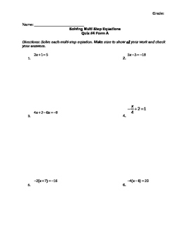 Solving Multi-Step Equation Assessment