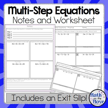 Multi-Step Equations - Interactive Notes, Worksheet and As
