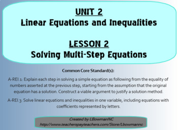 Solving Multi-Step Equations (Math 1)