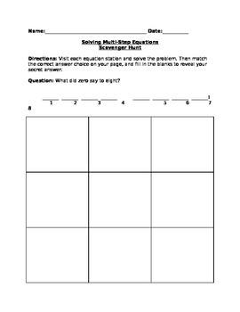 Solving Multi-Step Equations Scavenger Hunt